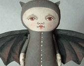 LAST ONE- Halloween Folk Art Vampire Bat Doll- Hand Painted Original- Custom made within a week