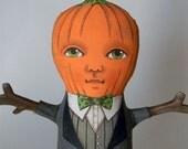 Pumpkin Head Harvest Doll-- Original Contemporary Folk Art-- Made to order within a week