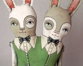 LAST ONE- Conjoined Bunny Rabbit Twins Hand Painted Original Folk Art Doll- Custom made within a week