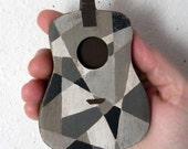 Folk Art Guitar Geometric Gray Hand Painted Original OOAK