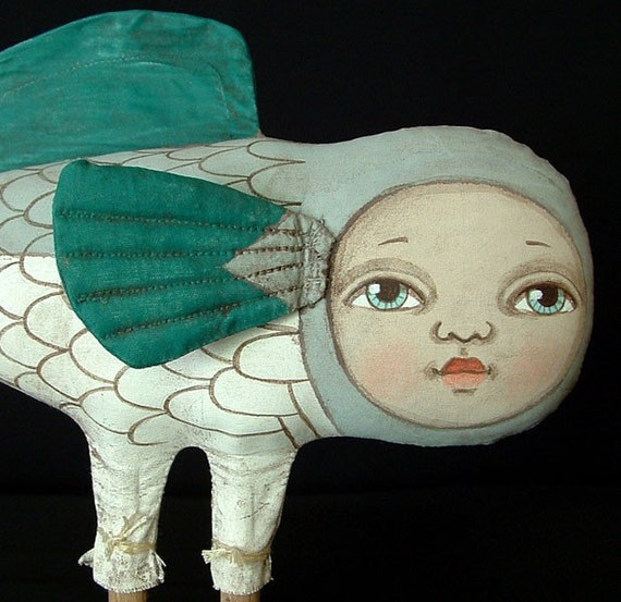 Darcie Fish-- Contemporary Folk Art Doll- MADE TO ORDER