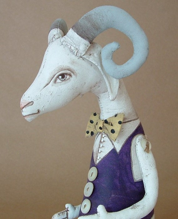 Gerard the Goat- Contemporary Folk Art Doll- MADE TO ORDER