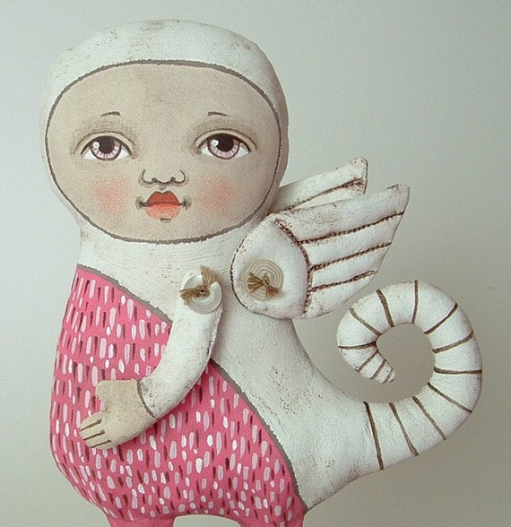 LAST ONE- Pink Monster- Original Contemporary Folk Art Doll-- Made to order within a week