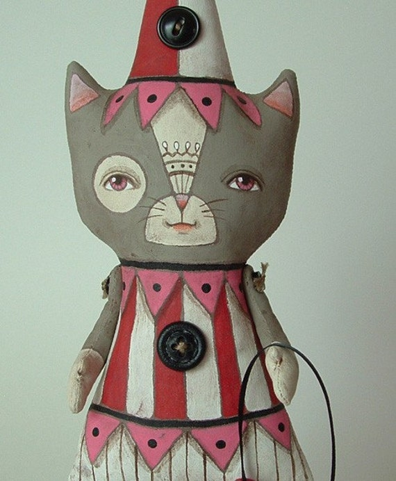 Seiko...Contemporary Folk Art Cat Doll with Circus Tent Pull-Toy...Made to Order (Last one)