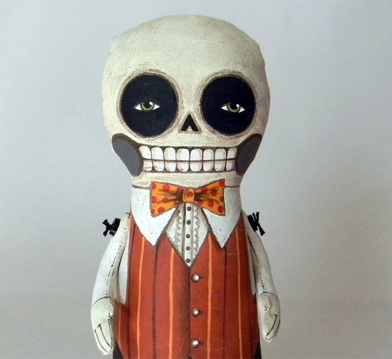 LAST ONE- Skeleton Day of the Dead Doll-- Original Contemporary Folk Art-- Made to order within 7 days