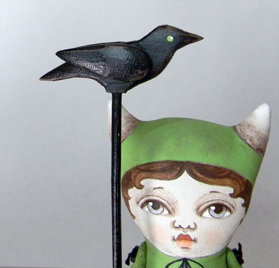 Monster Halloween Crow Sculpture Original Hand Painted Folk Art Doll-- Made to order within a week