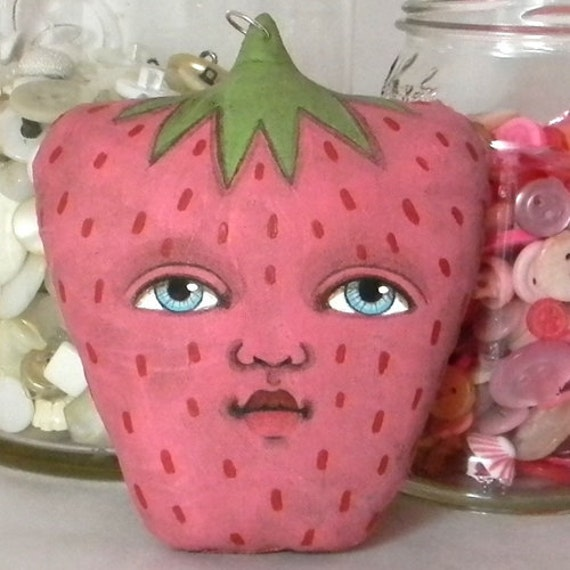 OOAK Ornament--Pink Anthropomorphic Strawberry Doll-- Original Contemporary Folk Art
