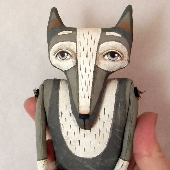 LAST ONE-- Wolf Original Contemporary Folk Art Doll-- Made to order within a week