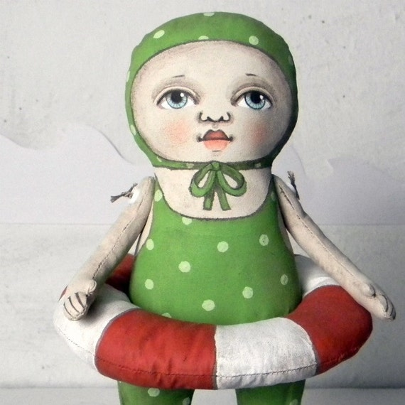Green Polka Dot Swimsuit Doll Sculpture Hand Painted Original Folk Art-- Made to Order within a Week