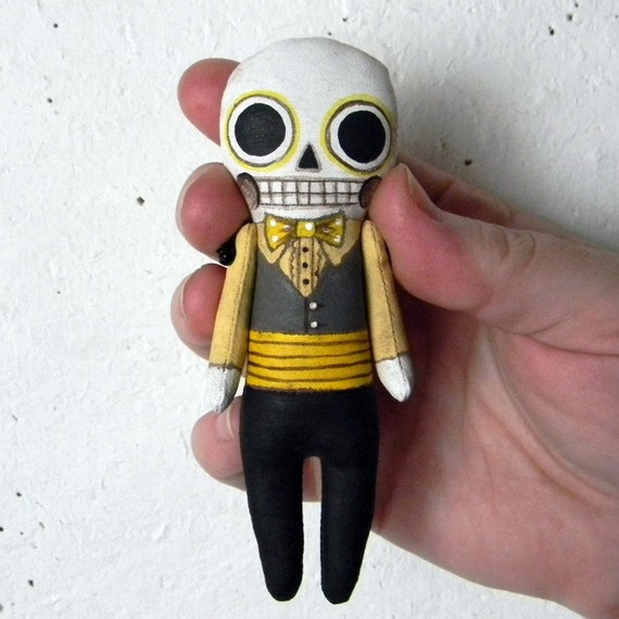 Tiny Day of the Dead Skeleton Doll Ornament-- Hand Painted Original Folk Art Sculpture-- Made to Order within a Week