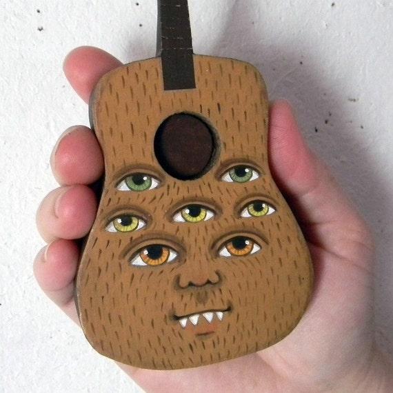 Monster Folk Art Guitar Hand Painted Wood Original OOAK