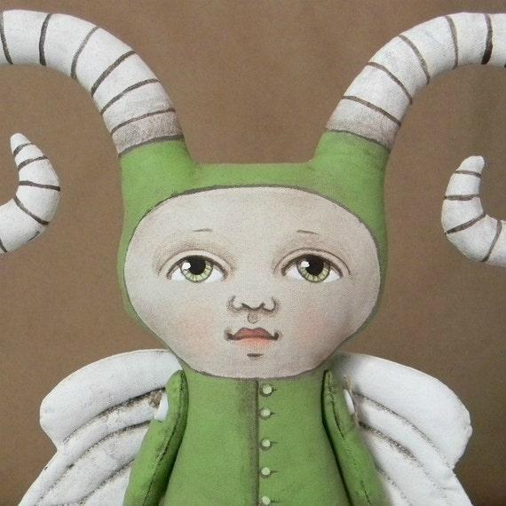 Green Monster Halloween Bug Fairy Original Hand Painted Folk Art Doll Sculpture OOAK