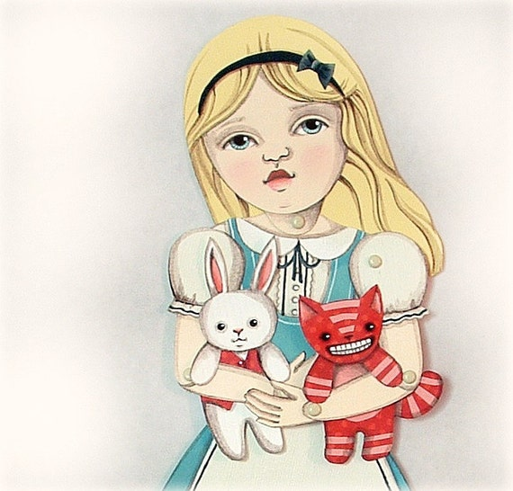SALE- Alice in Wonderland-- DIY Articulated Jointed Paper Art Doll Set-- White Rabbit and Cheshire Cat