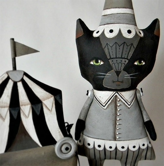 Black Cat Circus Doll-- Original Contemporary Folk Art-- Made to order within the week- LAST ONE