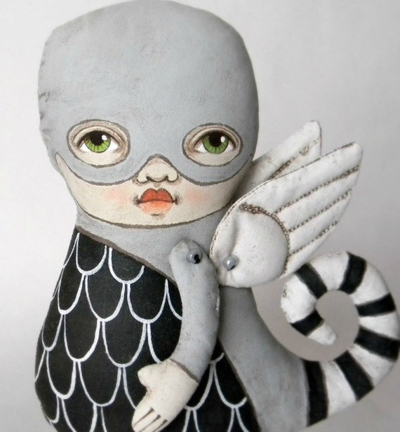 LAST ONE-- Monster Sculpture Original Contemporary Folk Art Doll-- Made to order within a week