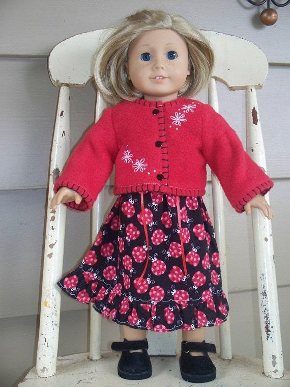 American Girl Doll Clothes - Ladybug Dress and Jacket Set