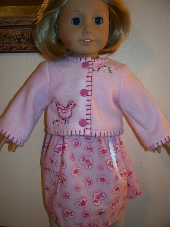 American Girl Doll Clothes - PINK Dress and Jacket  - A Little Birdie Told me...