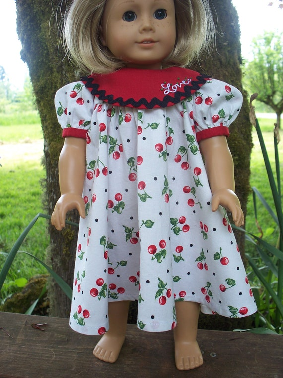 American Girl Doll Clothes - Cherry LOVE Party Dress for 18 inch Dolls