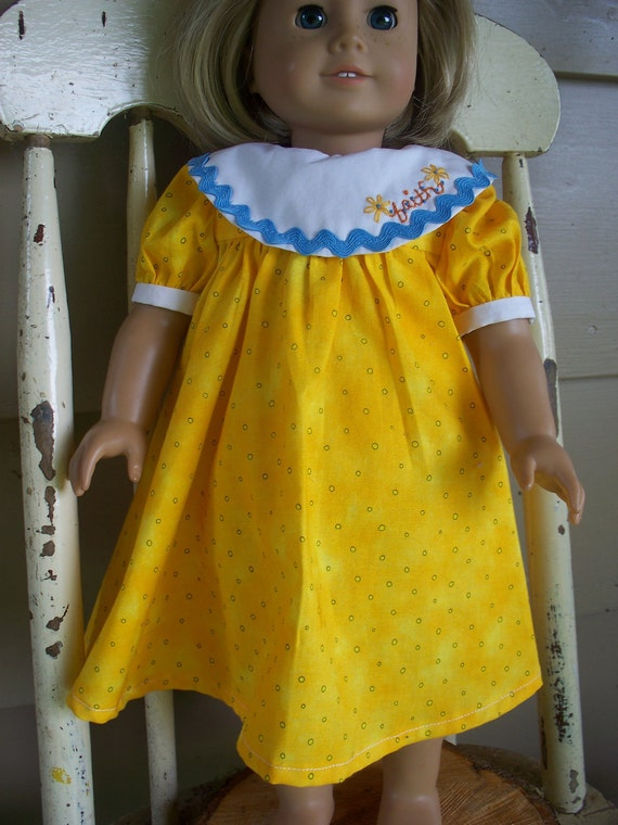 American Girl Doll Clothes - Sunny Yellow FAITH Party Dress for 18 inch Dolls