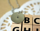 NECKLACE Personalized Initial Letter Alphabet Silver Tone Hand Stamped Round Metal Charm