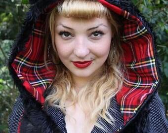 Red Tartan Bear Ear Snood Hood Hat Scarf