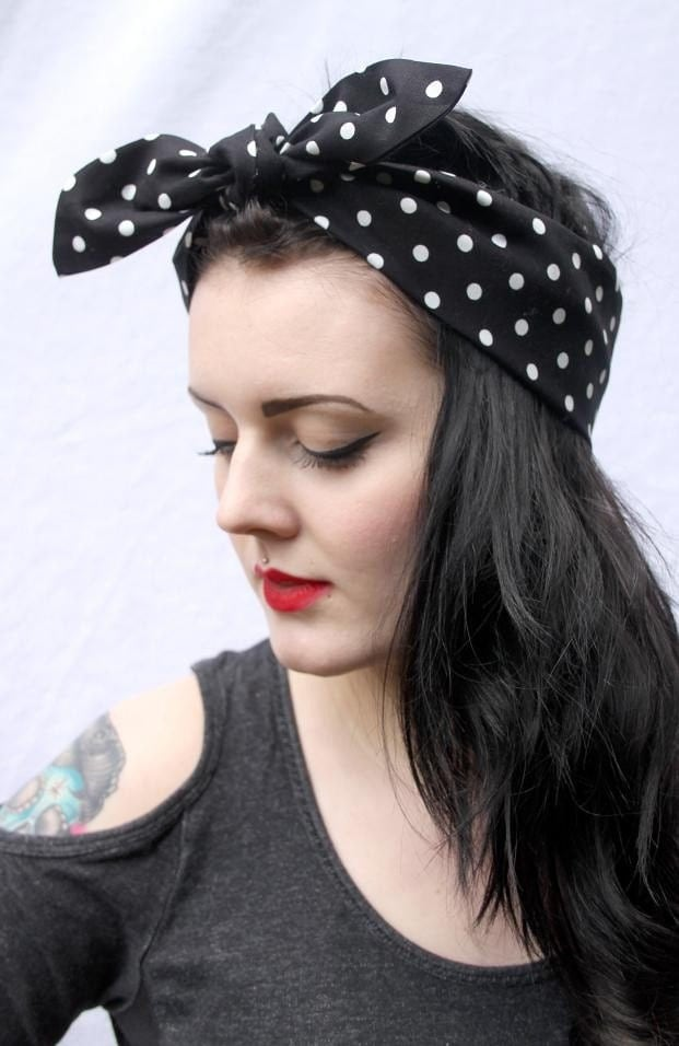 Black White Polka Dot 50s Style Head Scarf  Neck Tie by gobbolino White Head Scarves Women