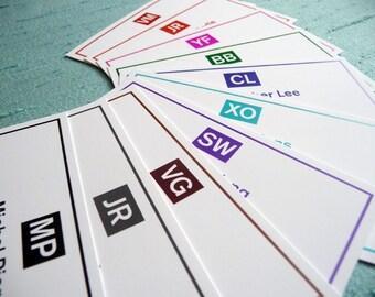 100 Modern Monogram Calling Cards