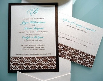 Classic Damask Wedding Invitation Set