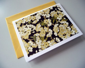 Yellow Blossoms Blank Folded Note Card