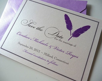 25 Feathers Save the Date Cards