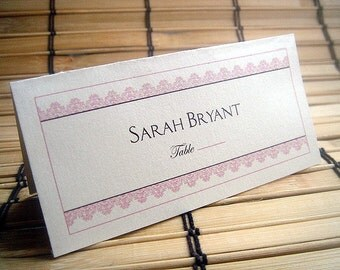 Modern Lace Tented Escort Cards