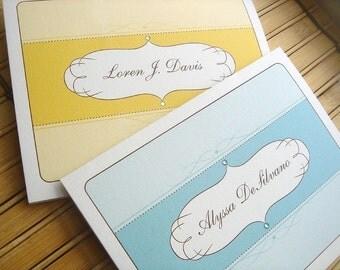 Oval Flourish Folded Note Cards - Set of 25