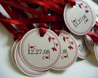 130 Sweet Branch Circle Favor Tags - with Ribbons