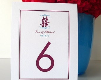 Double Happiness Bevel Panel Table Numbers