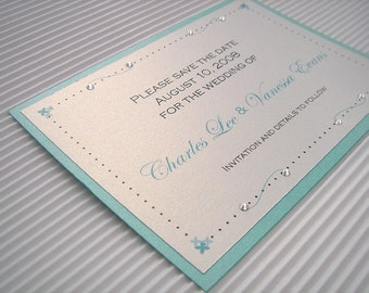 25 Crystal Swirls Save the Date Cards