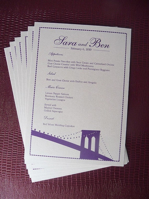 15 Brooklyn Bridge Silhouette Double Sided Table Menu and Table Number