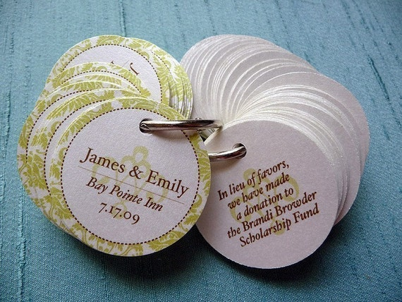 Elegant Damask Border Circle Favor Tags