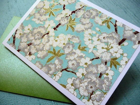 Royal White Blossoms Blank Folded Note Card