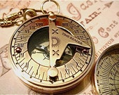 Brass Pocket Sundial Compass on a Pocket Watch Chain