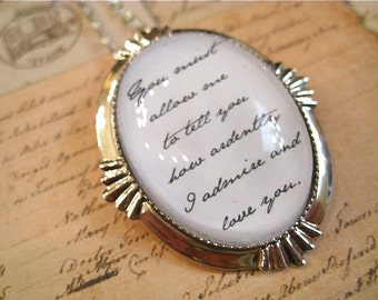 Jane Austen Pride and Prejudice Prose Necklace You Must Allow Me
