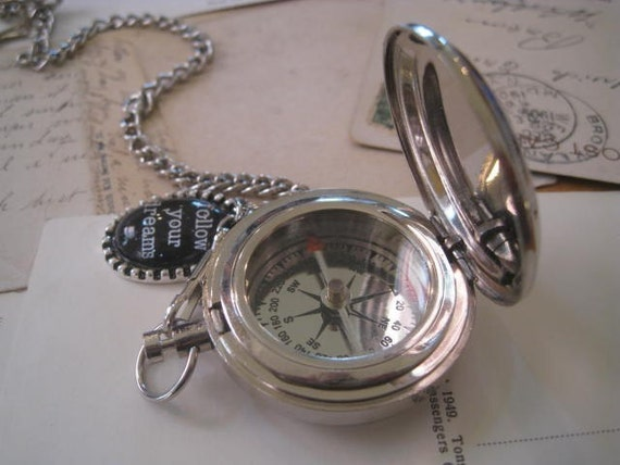 Compass on a Pocket Watch Chain Graduation Gift Father's Day Gift