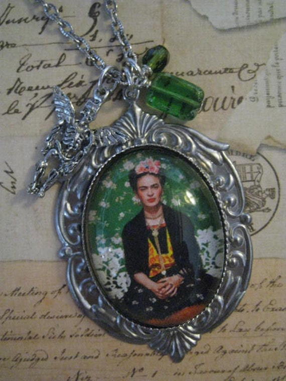 Frida Kahlo Portrait of Beauty Necklace of Trinkets