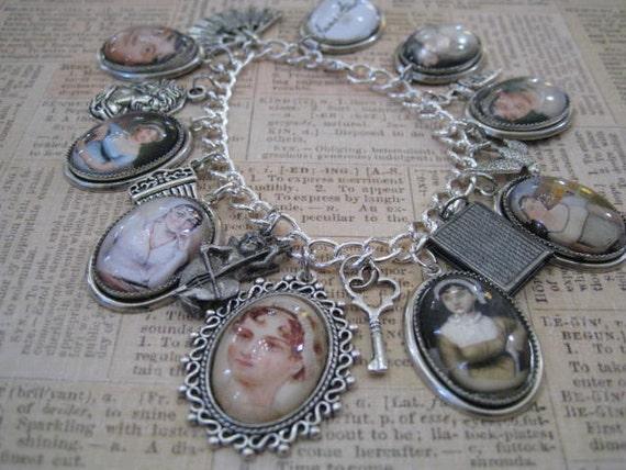 Jane Austen Charm Bracelet of Literary Style Silvery