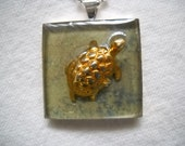 Turtle Art Pendant One of a Kind  Green and Gold and Silver