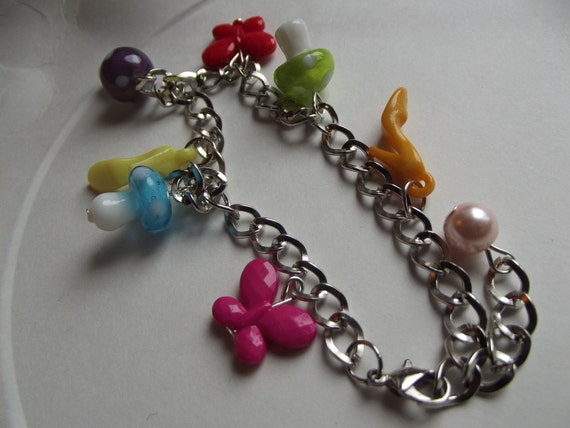 Charm Anklet  - Fashion Beads and Charms - To Benefit Heart Strings