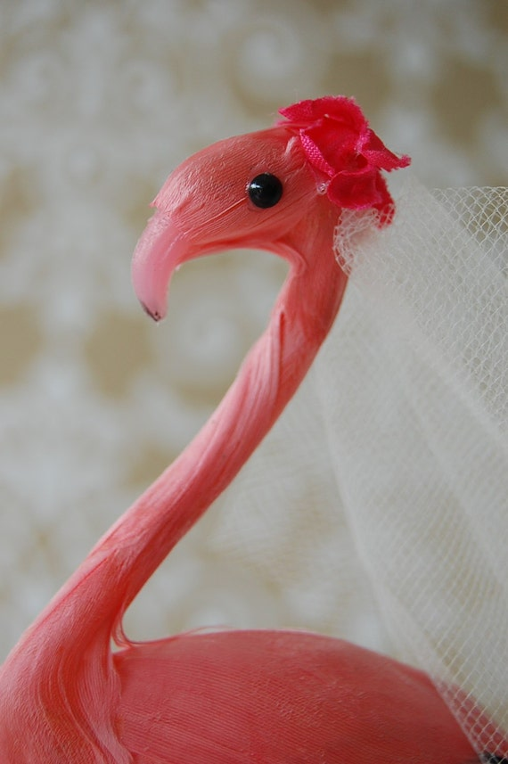 Flamingo Love Birds Wedding Cake Topper by thefabmissb on Etsy