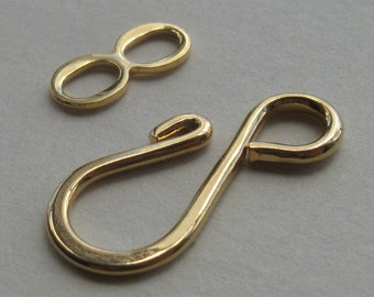 20 Gold plated brass hook and loop clasps 27mm