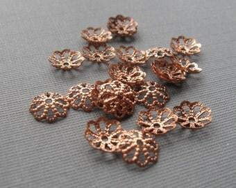 50 Solid copper daisy bead caps 7mm