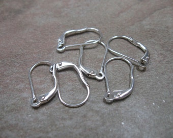 Silver plate changeable lever back earwires 6 pair 18mm
