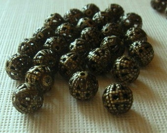 20 Antiqued brass 6mm round filagree beads